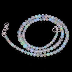 "41CRTS 3to6MM 18""ETHIOPIAN OPAL ROUND  BEAUTIFUL BEADS NECKLACE OBI1099 #OPALBEADSINDIA"