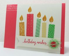 Stampin' Up! ... handmade birthday card: Build a Birthday candles featuring papers in the new 2015-2017 colors ...