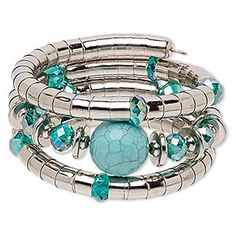 Bracelet, magnesite (dyed / stabilized) / silver-coated plastic / imitation rhodium-finished steel, turquoise blue AB and blue, 37mm wide with round, adjustable. Sold individually.