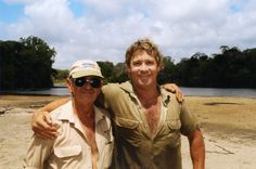 "Father and Son Team. Bob and Steve Irwin. Together, they're sharing there Dream, ""Australia Zoo"""