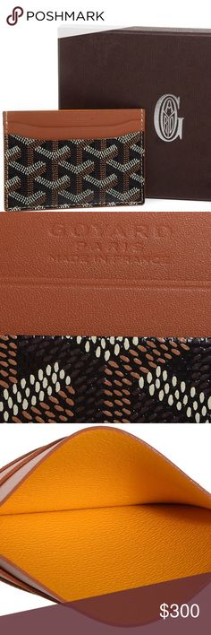 "Goyard St. Sulpice Card Holder 100% authentic 100% authentic and perfect condition.  No signs of wear.  Box and duster included.  Signature Goyard Chevron painted black coated canvas.  Tan leather card slots on both sides and middle compartment.  Length is 4"" and height is 3"". Goyard Bags Wallets"