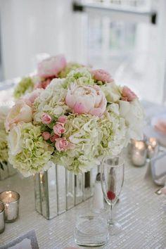 Pink peonies, white hydrangeas and mirror bases ~ Margot Landen Photography | bellethemagazine.com