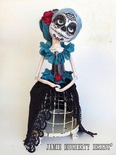 jaylynnscraps Day of the Dead, Dia De Los Muertos, Art doll, clay doll, OOAK, Jamie Dougherty Designs Catrina, skulls