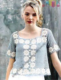 crochelinhasagulhas: Blusa azul e branca de crochê