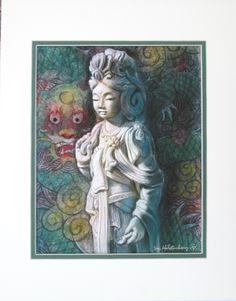 Déesse Kuan Yin Dragon Buddha art bouddhiste par HalstenbergStudio