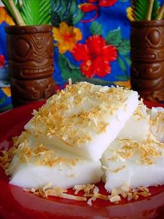Haupia (a Hawiian coconut pudding dessert)    Very light and not too sugary... I like it! Gluten and dairy-free.