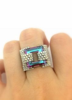 Amazing Swarovski Crystal Square 14 MM Gray Ring  Beaded Ring by 11 japanese cylinder beads and fire line.   perfect for everyday wear, or to punch up