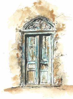 Ocre bleu Aquarelle et encre de chine C.PEDEN Watercolor Sketch, Watercolor Paintings, Broken Crayons, Sketch Journal, Urban Sketchers, Cool Sketches, Color Lines, Landscape Art, Gouache