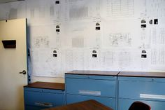 Without a budget to repaint the walls, Ms. Buckley covered them with blueprints. Records Management, Index Cards, Ms, Budget, Walls, Real Estate, How To Plan, Building, Cover