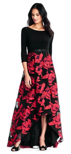 6b0b274c4ccf Adrianna Papell   High Low Floral Jacquard Ball Gown with Jersey Three  Quarter Sleeves Ball Skirt