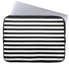 Cool Modern Black and White Striped Laptop Sleeve