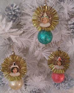 Set of 3 Victorian Clown Christmas Ornaments With Antique Scrap and Vintage Gold Tinsel Halos
