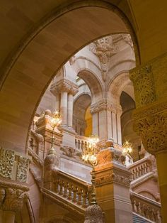 size: Photographic Print: Million Dollar Staircase, State Capitol Building, Albany, New York State, USA by Richard Cummins : Baroque Architecture, Beautiful Architecture, Photowall Ideas, Home Modern, Princess Aesthetic, Beige Aesthetic, Capitol Building, Interior Exterior, Kirchen