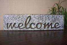 String art Sign Welcome Customizable Wall hanging by Marambra