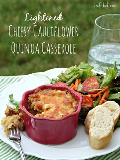 Lightened Cheesy Cauliflower Quinoa Casserole recipe -- healthier comfort food recipe but still bubbling with Cheddar cheese and creamy sauce nomnom, meatless monday, healthy side dish   thefitfork.com