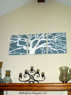 Three 16x20 panels=big impact on the wall for under $10. The Thriftress: DIY Wall Art - My Masterpiece