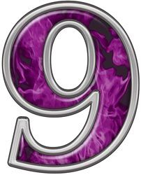 Reflective Number 9 with Inferno Pink Flames :: Inferno Pink Reflective Vinyl Lettering and Numbering :: Letters and Numbers :: Weston Signs Inc. Letter Symbols, Alphabet And Numbers, All Things Purple, Purple Stuff, Printable Numbers, Vinyl Lettering, Graphic Design, Signs, Fonts