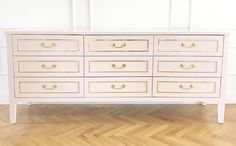 """CEH Label: """"The Henley"""" dresser with lacquer, brass inlays, and custom size, color and hardware"""