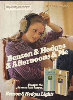 1981 Magazine Print Advertisement AD Benson & Hedges Cigarettes Girl Headphones