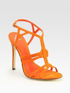 B Brian Atwood - Lorrina Suede High-Heel Sandals Orange High Heels, Black High Heels, Orange Sandals, Most Expensive Shoes, Prom Heels, Sexy Heels, Strappy Heels, Brian Atwood, Fashion Heels