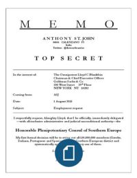 TOP SECRET MEMO LEAKED:  Plenipotentiary Consul for Southern Europe