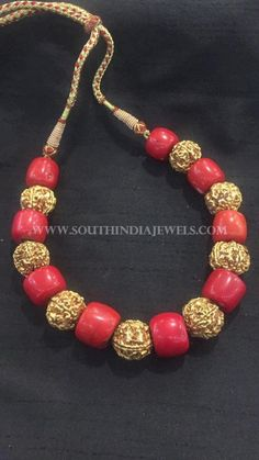 Gold Coral Mala Designs, Gold Antique Mala Collections, Gold Antique Necklace With Corals.