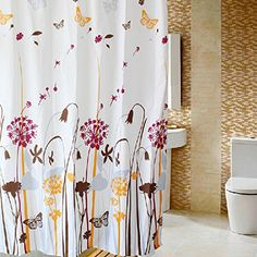 Waterproof shower curtain  Mouldproof  rustic  Dandelion 110W78H ** You can get more details by clicking on the image.