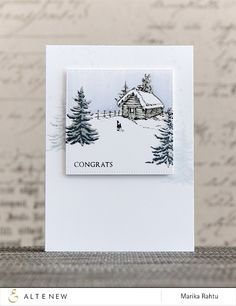 Winter cottage: Altenew, winter, 2 shades of gray on stamp, added details w/ black, Me and Minime crafting
