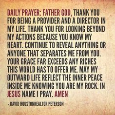 Daily Prayer-thankful for provisions from God.