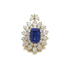 FROM THE COLLECTION OF MADAME CLAUDE ARPELS: Sapphire and diamond pendant, Van Cleef & Arpels. Set with a mixed-cut sapphire weighing 10.43 carats, within a frame of pear-shaped and brilliant-cut diamonds.