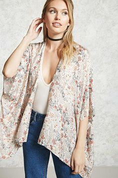 Forever 21 Contemporary - A semi-sheer lightweight, textured woven kimono featuring an allover floral print, an open front, and short batwing sleeves.