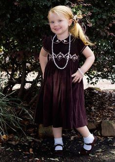 Beautiful Brown Holiday Corduroy Girls Dress with Silk Embroidery – Carousel Wear