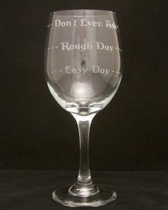 Items similar to Good Day Bad Day Wine Glass Christmas gift, fathers day gifts, Birthday gifts, Bridal gifts, mothers gifts on Etsy Mother Birthday Gifts, Mother Gifts, Fathers Day Gifts, Valentine Day Gifts, Gifts For Mom, Christmas Gifts, Mothers, Christmas Ideas, Etched Wine Glasses