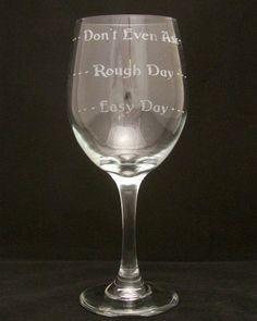 Good Day Bad Day Etched Wine Glass, Birthday gift, Bridal gift. $12.00, via Etsy.