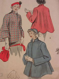 10 vintage 40s sewing pattern swing jacket flared back butterick 4866