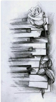 rose on piano tattoo. I'd make it a purple rose for my Grandma and piano for my grandpa! Music Drawings, Pencil Art Drawings, Art Drawings Sketches, Music Tattoo Designs, Music Tattoos, Body Art Tattoos, Piano Tattoos, Rose Tattoos, Faith Tattoos