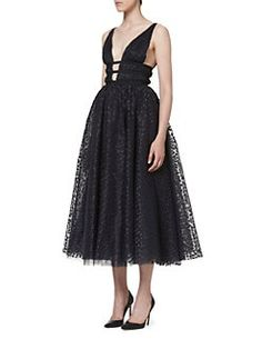 Carolina Herrera - Metallic Dot Cocktail Dress