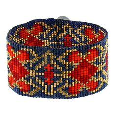 Royal, red, and gold Regal Square Stitch Bracelet Kit by Tapestry Beads | Fusion Beads