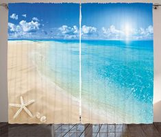 Beach Curtains by Ambesonne Sunny Summer Seashore with Clear Sky Seashells Starfish Clouds Aquatic Picture Living Room Bedroom Window Drapes 2 Panel Set 108 W X 63 L Inches Aqua Cream Blue -- ** AMAZON BEST BUY ** #Curtains