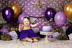 Purple and gold cake smash
