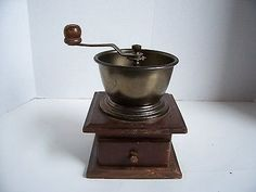 Old-fashioned Coffee Grinder Mill w Drawer Wood Bronzed Metal with Hand Crank WORKS