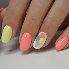 Simple rounded summer nail designs pleasing and so cute. Love the ice cream cone print, with yellow single nail painted to match it.