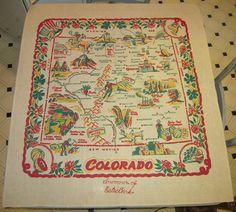 Vintage 1940's SOUVENIR Tablecloth Colorado by unclebunkstrunk, $79.99
