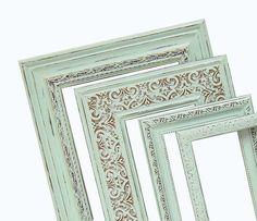 Shabby Chic Frames Pastel Mint Green Picture Frame Set Ornate Vintage ...
