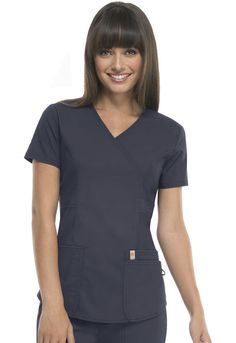"""A Contemporary fit mock wrap top features three patch pockets with a bungee I.D. loop, double princess seams, a flattering belt detail at the waist, signature mesh binding at the back neck, double needle stitching and a shirttail hem. Center back length: 26"""" Sizes: XXS - 5XL Color: Pewter (PWCH) Brand: Code Happy Antimicrobial technology"""