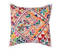 Cojín bordado a mano en algodón banjara Khaldûn I – 45x45 cm