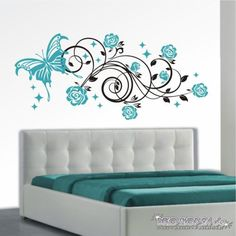 2 Farbig Wandtattoo Blumenranke Mit Schmetterlinge Ranke Blumen XXL Deko  Sticker | EBay | Web | Pinterest | Wand Tattoo, Wall Decorations And Walls