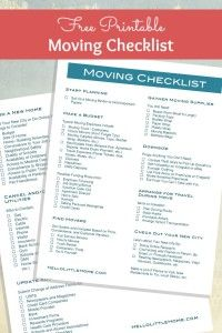 How to Plan a Big Move + FREE Printable Moving Checklist! : Get organized for your move with this Free Printable Moving Checklist, plus get tons of tips for How to Plan a Big Move! Moving Checklist Printable, Moving House Checklist, Moving List, Moving House Tips, New Home Checklist, Moving Day, Moving Hacks, Apartment Checklist, Moving Binder
