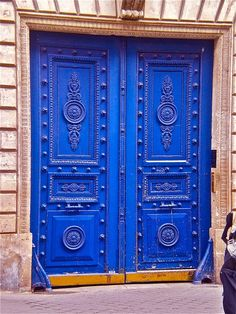 bright #blue door look for a door like this and/or paint the bathroom downstairs a color like this