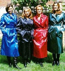 Four colourful ladies in Mackintoshes.